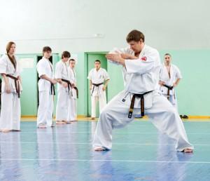Karate teacher in his dojo